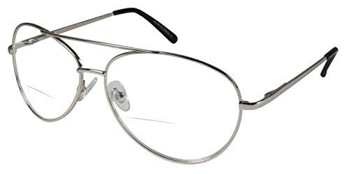 Edge I-Wear Classic 70's Clear Aviator Reading Glasses Women Bifocal Readers for men 2.75 20391CB-+2.75-4(Silver)