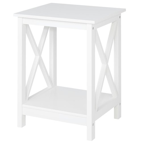 Country Side Table with 1 Bottom, Modern Country Design, White Lacquered