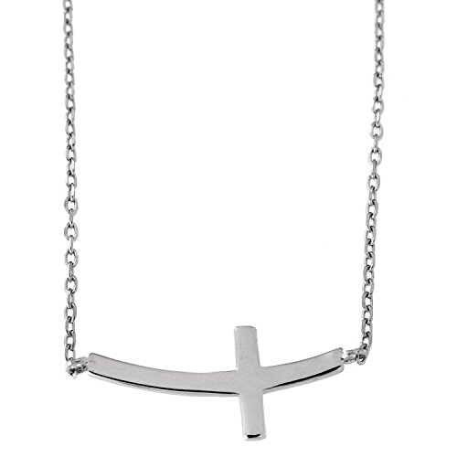 Beauniq Solid Sterling Silver Rhodium Plated Curved Sideways Cross Pendant Necklace, ()