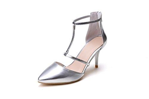 AmoonyFashion Womens High-Heels Soft Material Solid Zipper Closed Toe Sandals Silver Jek5Vt