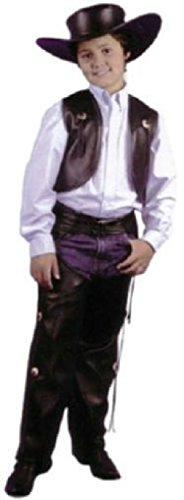 OvedcRay Child Cowboy Western Costume Wild West Faux Leather Chaps & Vest Kids Boys