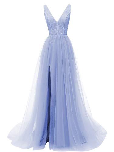 Prom Dresses Deep V Neck Tulle Lace Sex Split Dresses Long Prom Gown Evening Dress HFY290-Lavender-US8
