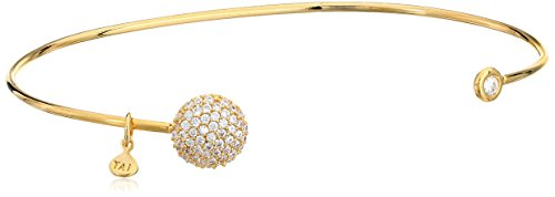 Tai Gold Cubic Zirconia Button Open Cuff Bracelet