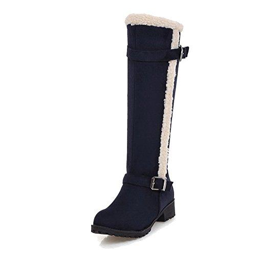Allhqfashion Women's Solid Imitated Suede Low-Heels Zipper Round Closed Toe Boots Blue m2Id3tKDI