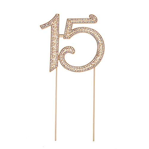 LUVE 15 Quinceañera Centerpiece Birthday Cake Topper Premium Bling Crystal Rhinestone Diamond 15th Wedding Anniversary Party Decoration Ideas (Rose Gold AB -