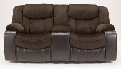 Ashley Furniture Signature Design - Tafton Reclining Loveseat with Console - Pull Tab Recliner - Java