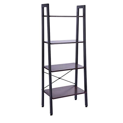 Industrial Vintage Ladder Shelf, SIN+MON 4-Tier Bookshelf Storage Rack Shelves Bookcase Bamboo Plant Stand Potted Wood Stand Bookrack for Bathroom Living Room,Metal Frame【Ship from USA】 (Black walnut)