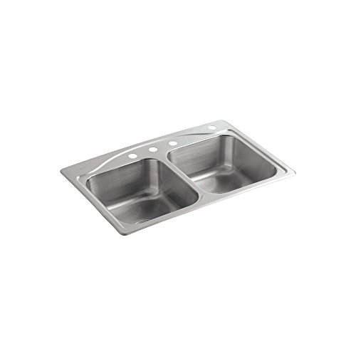 KOHLER K-3145-4-NA Cadence Self-rimming Kitchen Sink (Self Double Rimming Kohler Bowl)