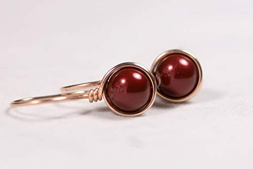 - Rose Gold Dark Red Pearl Earrings with Bordeaux Swarovski Pearls Wire Wrapped Choice of Yellow or Rose Gold Filled
