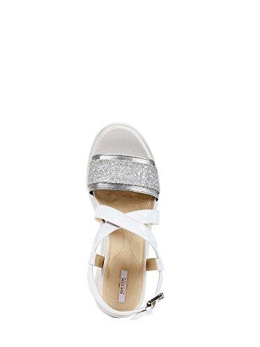 Geox D827UD 0EWHH Sandales Compensées Femmes Blanc 38