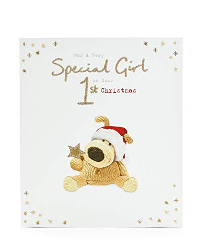 1St Christmas Card for Baby Girl- Card to Celebrate 1St Christmas- Cute Boofle Christmas Card- Christmas Gift Card- Boofle Gifts (Christmas Boofle)