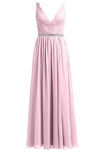 V Neuheit Charmant Abendkleider Lang Ballkleider Damen ausschnitt Aermellos linie Rosa Hell A Partykleider Glamour qAZATE