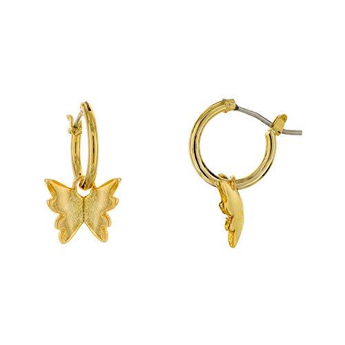 Columbus 14K Gold Plated Butterfly Charm Huggie Hoop Earrings - Butterfly Earrings - Charm Huggies (Gold Butterflies)