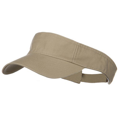 Cotton Visor - MG Pro Style Cotton Twill Washed Visor - Khaki