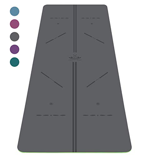 "Heathyoga ProGrip Non Slip Yoga Mat with Alignment Lines, Revolutionary Wet-Grip Surface & Eco Friendly Material, Perfect for Hot Yoga and Bikram, Free Carry Bag 72""X26"""