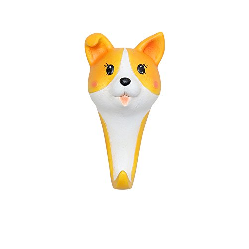 Colias Wing Home Decor Lovely Animal Corgi Dog Shaped Resin Hook Wall Mounted Single Wall Hanger Coat Wall Hook-Yellow by Colias Wing
