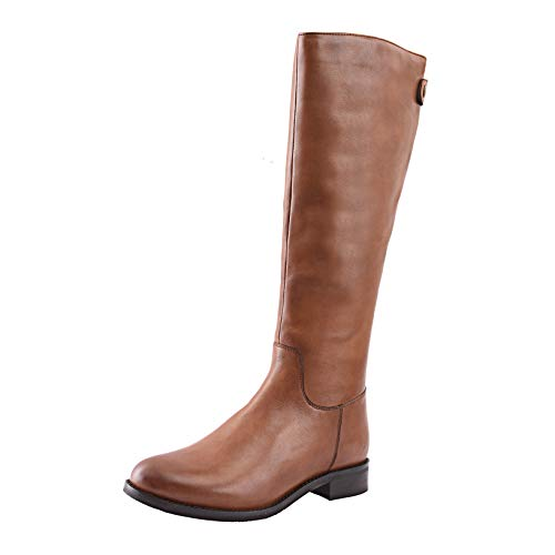 Allonsi Amata Women's Genuine Leather Classic Knee High Riding Boots, Knee High Boots with Low-Heel, TPR Sole and Zip Closure (Cognac, 8W - Genuine Boots Womens