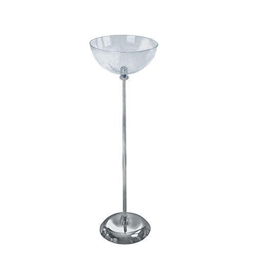 14'' dia. Single Clear Plastic Bowl Floor Display with 10'' dia. Metal Base by Bowl Display