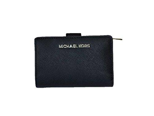 Saffiano Bi Fold (Michael Kors Jet Set Travel Bifold Zip Coin Leather Wallet - Black/silver)