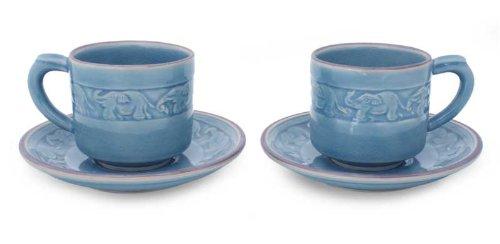 NOVICA Good Luck Ceramic Cups & Saucers Blue, 6 oz, 'Blue Elephant Dance' (Set for 2) by NOVICA