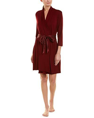 Fleur't Womens Satin Tie-Sash Robe, S/M Cabernet
