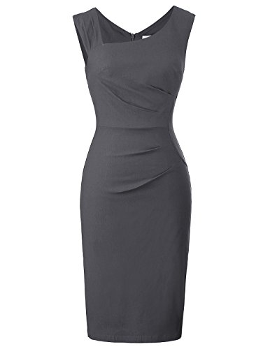 Belle Poque Women's Sleeveless V-Neck High Waist Formal Midi Bodycon Pencil Dress Size L Dark Grey BP302-5