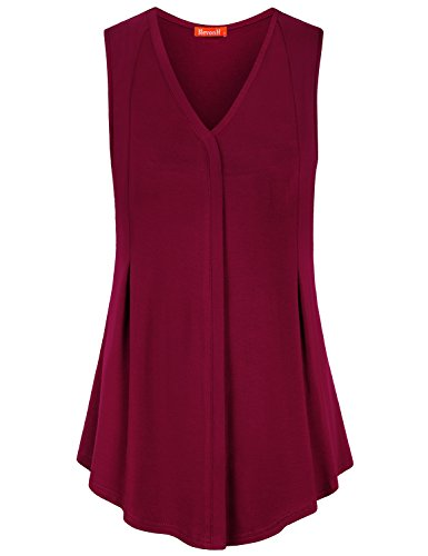 Blevonh Sleeveless Shirts for Women, Ladies Office Elegant Decorative V Neck Elastic Fashion Curve Bottom Knitted Summer Work Tunic Top for Leggings Youth Baggy Solid Color Ruched Tank Red Large