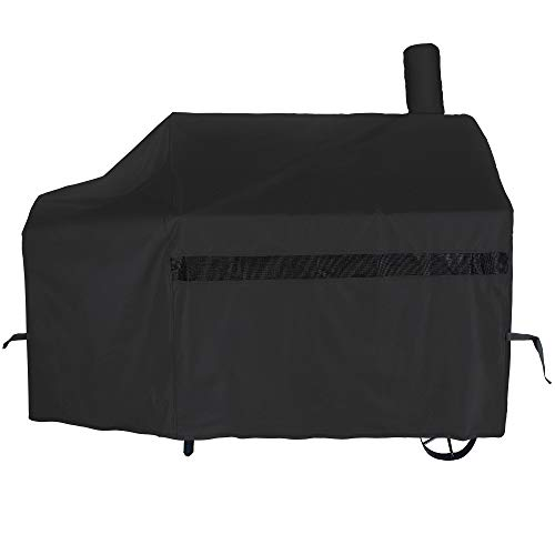iCOVER Offset Smoker Cover, 60 inch Charcoal Pellet Grill Smoker Cover 600D Heavy Duty Waterproof BBQ Smoker Cover for Brinkmann Char-Broil Weber Nexgrill New Braunfels