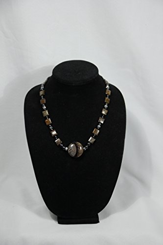Handmade Black Brown and Cream Spiderweb Agate Necklace (Web Agate)