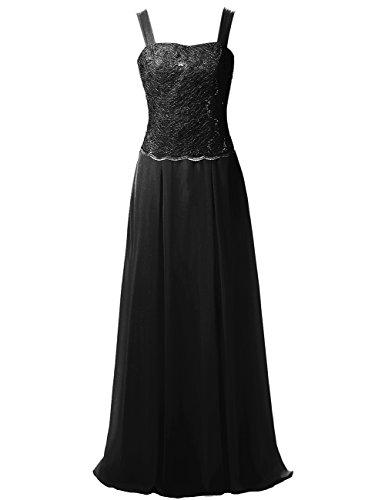 ... JAEDEN Damen Herzform Chiffon Mutter der Braut Kleider mit Jacke Spitze  Abendkleid Lang Festkleid Schwarz 2wW5o ... 39e89bf8b4
