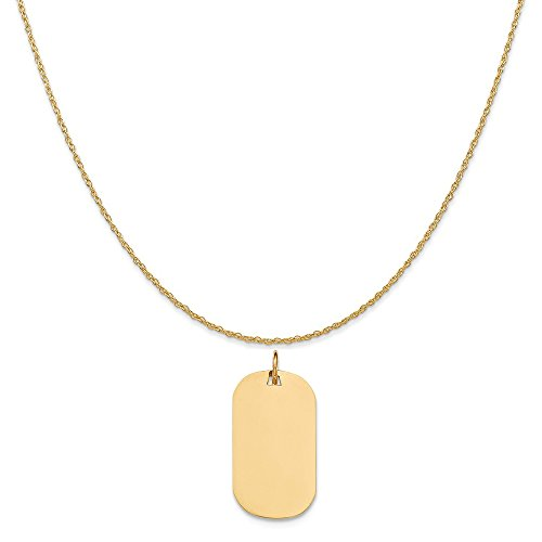 14k Yellow Gold Plain .013 Gauge Engravable Dog Tag Disc Charm on a Rope Chain Necklace, 20
