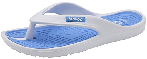 ROWOO Women EVA Toe Post Lightweight Flip Flops Beach Sandals (6 US/37 EU, Blue - Toe Post Flat Sandal