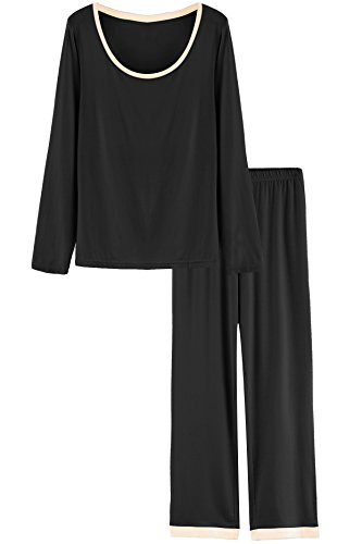 dcfffce90 Latuza Women s Round Neck Sleepwear Long Sleeves Pajama Set XL Black