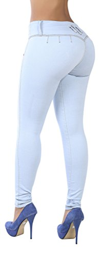 Curvify 765 Premium Women's Enhanced Butt Liftting Skinny Jeans Light Blue (Booty Pants)