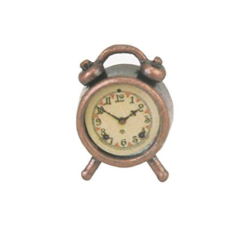 Miniature Living Room A Metal Alarm Clock Bronze for 1/12 Dollhouse Accessory