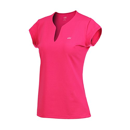 Women's Quick-Drying V-Neck Short Sleeve Tops, Fitness T-Shirts (t42,XL,Rose red)