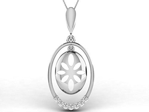 Or Blanc 14 ct Pendentifs Diamant, 0.11 Ct Diamant, GH-SI, 1.96 grammes.