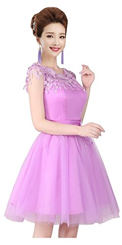 Gown Purple Ball Short Neckline Lace Prom Junior Dress Homecoming Drasawee Party xFtfSS