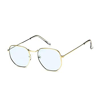 5cb6edf9ae5f SUNGLASSES- New Big Box Metal Men And Women Fashion Personality Colorful  Glasses Retro Sun Glasses Tide (Color   Gold frame blue film)   Amazon.co.uk  ...