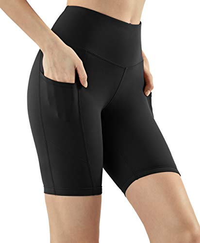 TSLA Active Bike Running Yoga Shorts Side/Hidden Pocket Series, Pocket Light 8inch(fys28) - Black, Medium (Size 8-10_Hip39-41 ()