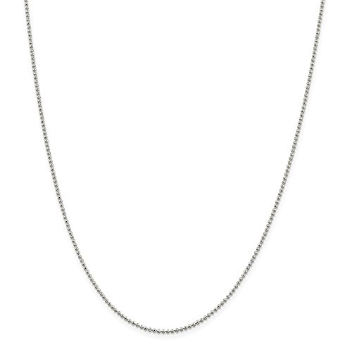 (Sterling Silver 0.95mm Wide Ball Style Chain Necklace, 16
