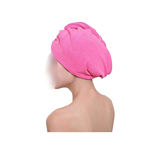 Lovely Girl Microfiber Fabric Thickening Dry Hair Hat Super Absorbent Quick-Drying Hair Shower Cap,Hot Pink,60Cm X 25Cm