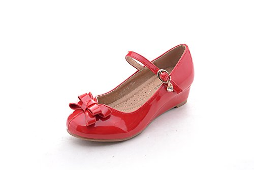 Mila Girls Toddler & Little Girls Mary Jane Low Heel Wedges Pumps Party Dress Shoes (Jodie-2) Red10