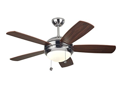Monte Carlo 5DI44PND, Discus II 44 Ceiling Fan with Light, Polished Nickel