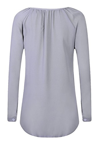 Blouse Mousseline Minetom Gris Shirt OL Casual Tops Blanc Printemps V T Femme Sexy Longue lgant Col Pullover Chemise Manche Chic 46 FR SzzdrW16
