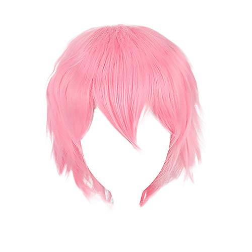 Kingspinner Anime Cosplay Wig Pure Color Short Fluffy Straight Cosplay Party Dress Costume Wig (Pink) -