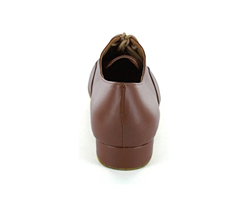 Minitoo Men's JF250509 Comfort Standard Leather Ballroom Latin Dance Shoes Brown yqLoGD