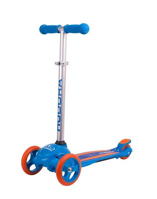 HUDORA 3 Wheel Scooter for Ages 2-6 Boys & Girls - Adjustable Height, Stable, Rear Friction Brake Scooter (Blue) ()