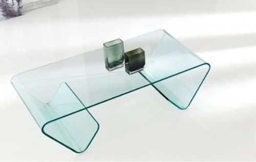 NACHER Mesa de centro cristal curvado Susi: Amazon.es: Hogar