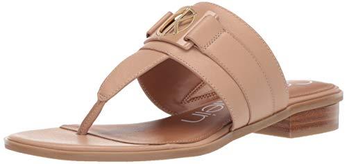 Calvin Klein Women's Farley Flat Sandal Desert Sand Soft Nappa Leather 6.5 M M - Leather Beige Nappa